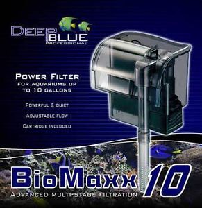 Biomaxx 10 Hang on Aquarium Filter for Desktop Betta Small Fish Tanks 10 Gallon