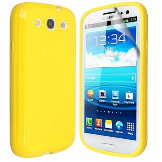 Solid Glossy Silicone Gel Case Cover for Samsung Galaxy S3 i9300 Screen Film