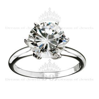 3 49 Carat Round Cut Diamond Engagement Wedding Ring 14k White Gold FSI3