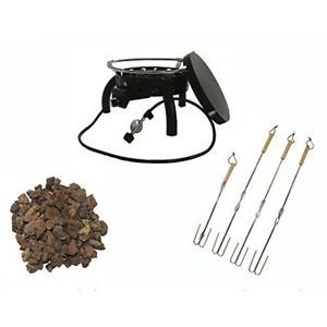 Outdoor Fire Pit Portable LP Gas 55 000 BTU with Lava Rocks