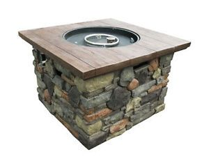 Outdoor Gas Fire Pit Table 20lb 30 000BTU Includes Lava Rock and PVC Cover