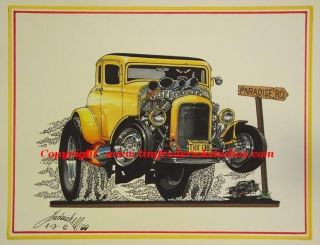 American Graffiti Milner's 32 Ford Coupe Cartqqn Low Number Artist Proof