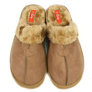Men's Ski Faux Fur Suede Cushion Indoor Outdoor Slippers Grip Soles Camel XL 11