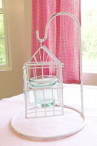 Hanging White Distressed Bird Cage Votive Candle Holder with Stand Country Chic