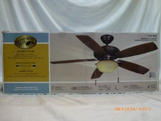 "Hampton Bay 791647 Gazebo 52"" Indoor Outdoor Ceiling Fan Iron Walnut Black 930s"