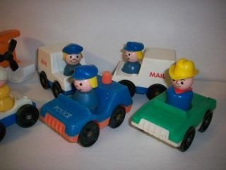 Fisher Price Little People 1970's Lot Sea Plane Mail Trucks Police People