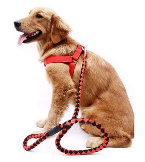Red Black Nylon Dog Pet Traction Rope Tow Harness Medium and Large Dog