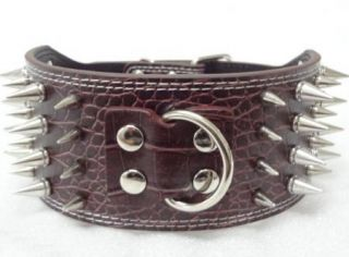 3'' Wide Leather Spiked Dog Collars for Large Dog Pit Bull Dogs Terrier Collars