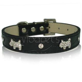 "17 21"" Black Leather Rhinestone Dog Collar Large"