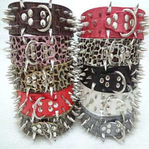 Gator Leather Spiked Pet Dog Collars Large Dog Pitbull Mastiff Terrier Bulldog
