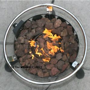 Portable LP Gas 55 000 BTU Outdoor Ring Fire Pit w Lava Rocks