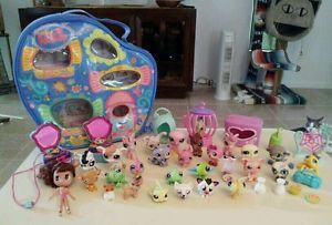 Lot Littlest Pet Shop Figures Accessories Bird Cage Pet Carrier Case Blythe Doll
