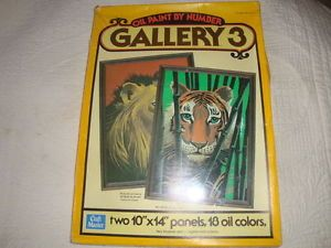 Vtg 1978 Oil Paint by Number Kit Jungle Cats 16702 Lyon Tiger Craft Master