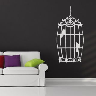 Hanging Bird Cage Animal Wall Art Sticker Wall Decal Transfers