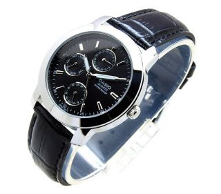 New Casio MTP 1192E 1A Day Date Analog Quartz Black Leather Classic Men's Watch