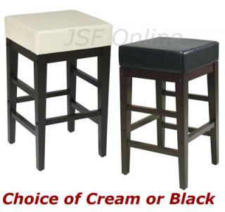 Cream or Black Faux Leather 25H Square Bar Counter Stool Backless Chair