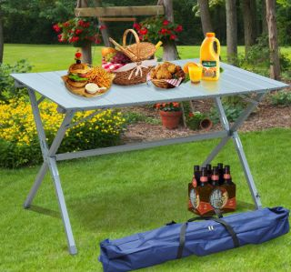 Outdoor Camping Portable Lightweight Aluminum Roll Up Top Rectangle Picnic Table
