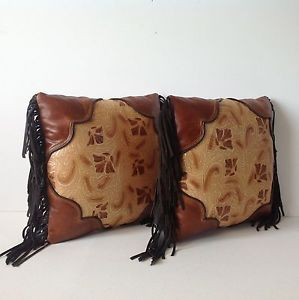 2 Leather Embossed Tooled Leather Pillows