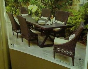 New Hampton Bay Woodbury 7 Piece Patio Dining Set with Textured Sand Cushions