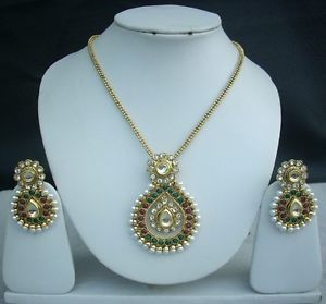 Indian Necklace Earrings Bollywood Fashion Jewelry Emerald Pearl Pendant Set Z68