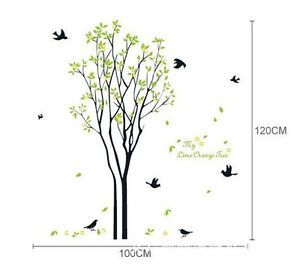 Vinyl Home Art Mural Green Bird Nest Tree Spring Leaf Plant Wall Sticker Grass