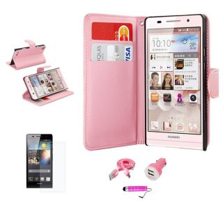 Pink for Huawei Ascend P6 Side Wallet PU Leather Case SP Micro USB Car Charger