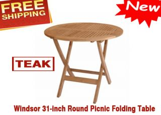 Anderson Teak Windsor 31 inch Round Picnic Folding Table for Boating Restaurant