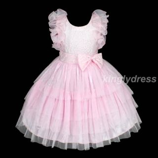 New Flower Girl Pageant Wedding Bridesmaid Party Dancing Dress Pink Sz 6 T1273