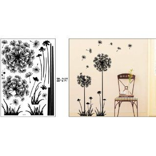 "Black Dandelion Flower Plant Tree Large Removable Wall Decor Decal Sticker 57"" X"