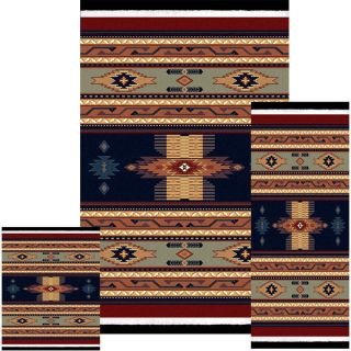 Southwestern Contemporary Geometric Area Rug Navy 3 Pieces Set United WEAVERS11