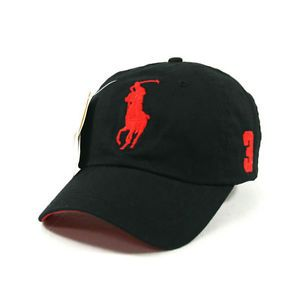 BP02 Black Cap Red Large Logo Polo Baseball Hat Golf Tennis Outdoor Casual New