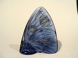 Beautiful Lalique Crystal Miniature Enameled Butterfly Figurine Blue Retired