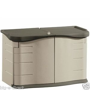 Outdoor 18 CU ft Rubbermaid Split Lid Horizontal Garden Tools Storage Shed Kit