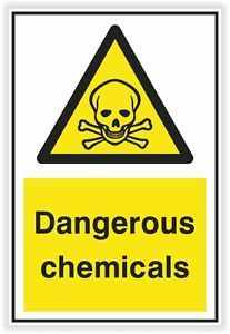 Danger Dangerous Chemicals Sticker Warning Safety Vinyl Decal Caution Security