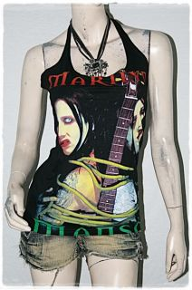 Marilyn Manson mm Metal Rock DIY Sexy Halter Top Shirt