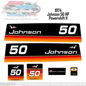1974 Johnson 50 HP Outboard Reproduction 6 Piece Vinyl Decals Powershift II