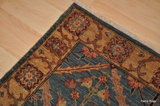 4x6 Afghan Vegetable Dye Hand Woven Blue Wool Area Rug