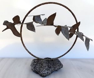 Mid Century Modern Abstract Metal Flying Bird 3D Sculpture Volcanic Base Signed