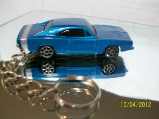 1969 Dodge Charger R T Maisto Custom Keychain with Keyring Blue 1 64 Mint