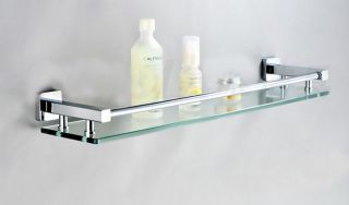 New Cheapest Wall Mounted Bathroom Shower Caddy Shelf Glass Tier with Brass Base