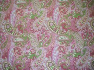 "New 84"" Gypsy Paisley Pink Lime Green Yellow Fabric Shower Curtain Cotton"