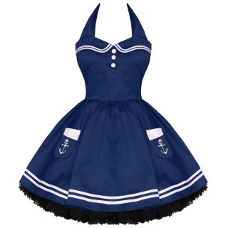 Hell Bunny Motley New Navy Vtg 50s Nautical Sailor Rockabilly Pinup Mini Dress