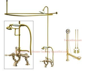 Polished Brass Clawfoot Tub Faucet Shower Kit Enclosure Curtain Rod 409T2CTS