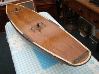 Stunning Antique Victorian Edwardian Model Wooden Pond Yacht Boat 4 ft Long
