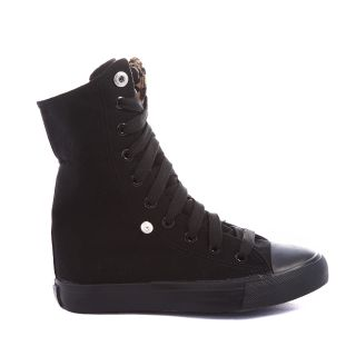High Top Shoes Lace Up Sneakers Canvas Boots Kids Youth Black Leopard US 10 4