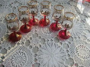 6 Antique Ornate Ruby Red Gold Port Wine Footed Liquor Glasses RARE Unique