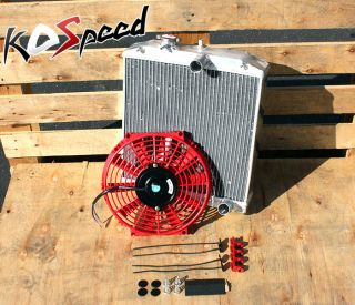 "Aluminum Radiator 92 00 Honda Civic Del Sol EG EK 3 Row 60mm D15 D16 10"" Red Fan"