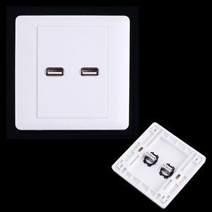 2 x High Quality USB Wall Plate Coupler Outlet Socket Panel