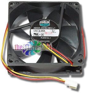 Cooler Master 80mm x 25mm 3 Pin Fan A8025 20CB 5BN L1