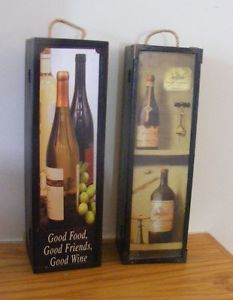 2 Wood Wooden Wine Box Holders Carriers Good Food Good Friends Good Wine